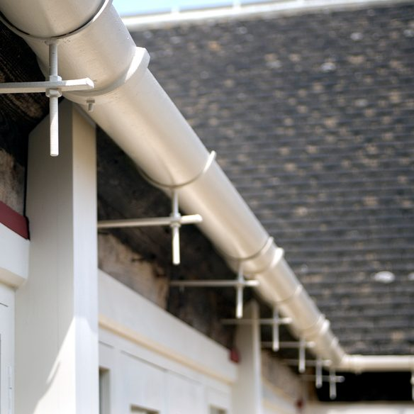 Close up view of metal guttering